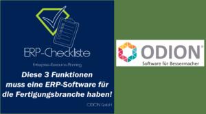 ERP-Checkliste von ODION: Diese 3 Funktionen muss eine ERP-Software für die Fertigungsbranche haben!